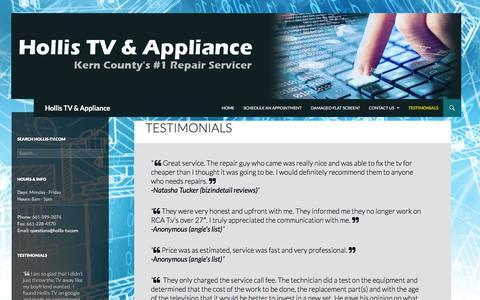 Screenshot of Testimonials Page hollis-tv.com - Testimonials | Hollis TV & Appliance - captured Jan. 31, 2016