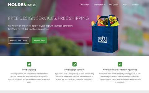 Screenshot of Home Page holdenbags.com - Wholesale Grocery Bags For Sale / Buy Bulk Reusable Bags / Custom Wine Totes / Cooler Bags / Personalized Insulated Totes - captured June 17, 2015