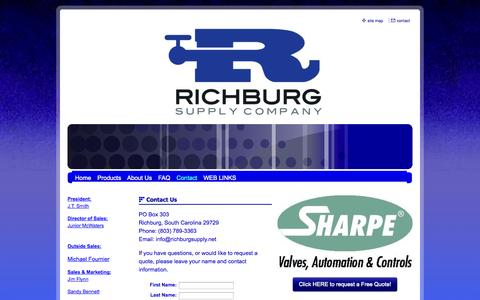 Screenshot of Contact Page richburgsupply.net - Richburg Supply Company - Contact - captured Oct. 9, 2014