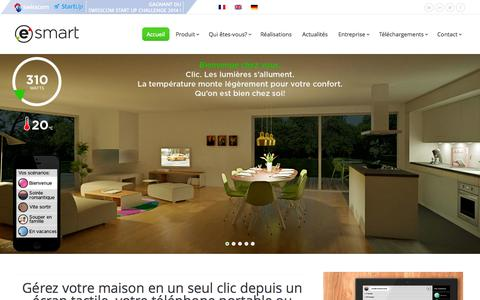 Screenshot of Home Page myesmart.com - eSMART | One click to manage your home - captured Oct. 3, 2014