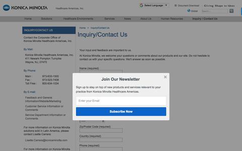 Screenshot of Contact Page konicaminolta.com - Inquiry/Contact Us | Konica Minolta Healthcare Americas, Inc. - captured Feb. 4, 2018