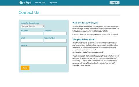 Screenshot of Contact Page hireart.com - HireArt: Source and screen job applicants through video interviews and work samples. - captured Nov. 17, 2015