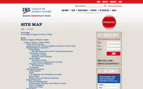 Screenshot of Site Map Page lwv.org - Site map | League of Women Voters - captured Sept. 24, 2014