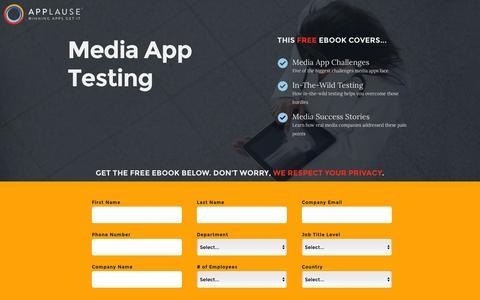 Screenshot of Landing Page applause.com - Media App Testing - Applause: 360° App Quality - captured Aug. 12, 2016