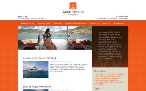 Screenshot of Blog worthavenueyachts.com - The official blog of Worth Avenue Yachts | Yachting Blog - Industry and Charter News | Worth Avenue Yachts - Part 1 - captured Oct. 1, 2014