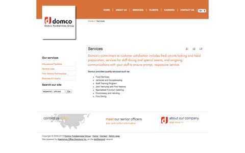 Screenshot of Services Page domcofoodservices.com - Services - captured Oct. 1, 2014