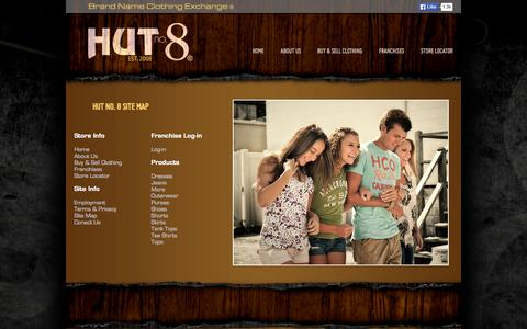 Screenshot of Site Map Page hutno8.com - Hut no. 8 Resale Clothing Franchise Opportunities - captured Oct. 3, 2014