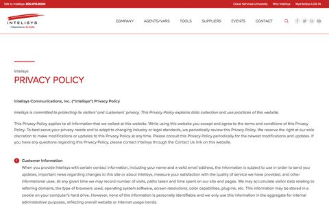 Screenshot of Privacy Page intelisys.com - Privacy Policy - Intelisys - captured Jan. 30, 2018