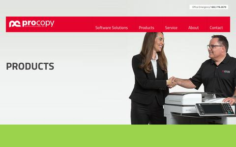 Screenshot of Products Page procopyoffice.com - Ricoh & Canon Photo Printers | Office Copy Machines For Sale or Lease - captured Feb. 16, 2019