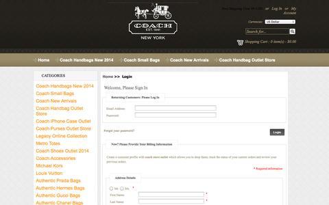 Screenshot of Login Page coachhandbagsoutlet.us.com - Login : coach store outlet - captured Oct. 31, 2014