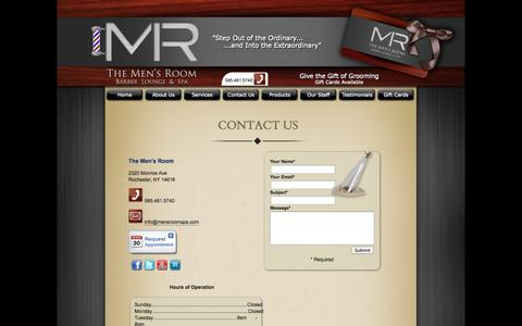 Screenshot of Contact Page Hours Page mensroomspa.com - The Men's Room Barber Lounge & Spa > Contact Us - captured Nov. 5, 2014