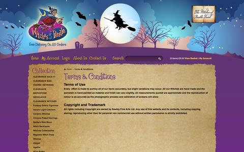Screenshot of Terms Page witchesofpendleshop.com - Terms & Conditions - Witches of Pendle - Pendle Witches Collectables & Gifts - captured Oct. 7, 2014