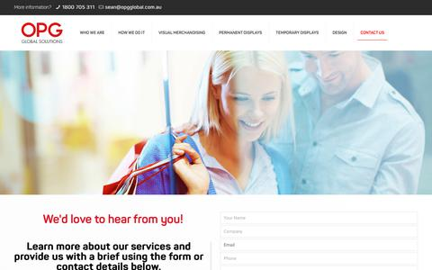 Screenshot of Contact Page opgglobal.com.au - Brief Us - Retail Displays & Visual Merchandising | OPG Global Solutions - captured Sept. 21, 2018
