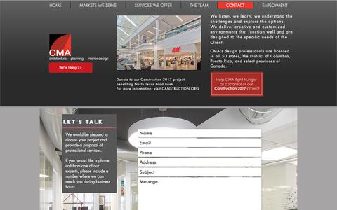 Screenshot of Contact Page cmarch.com - CMA architecture design retail Contact - captured July 8, 2017
