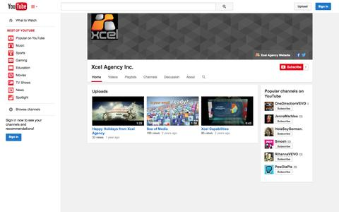 Screenshot of YouTube Page youtube.com - Xcel Agency Inc.  - YouTube - captured Oct. 26, 2014