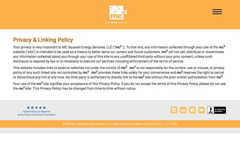 Screenshot of Privacy Page mc2energyservices.com - MC2 Energy Services | Privacy & Linking Policy - captured Sept. 29, 2017
