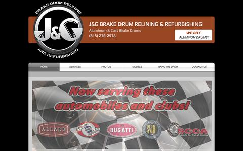 Screenshot of Home Page jgrelining.com - JG Brake Drum Relining and Refurbishing for Classic Cars - captured April 21, 2016