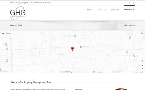 Screenshot of Contact Page ghg-am.com - GHG Investment Property Management | Customer Service | Maintenance Miami - captured Feb. 16, 2018