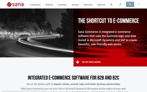 Screenshot of Home Page sana-commerce.com - Sana Commerce: Integrated E-Commerce Software for B2B and B2C - captured Jan. 12, 2019