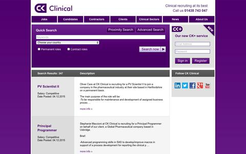 Screenshot of Jobs Page ckclinical.co.uk - Search for Jobs here - find the right one for you | CK Clinical - captured Dec. 5, 2015