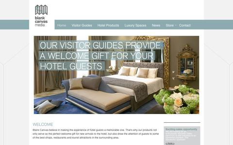 Screenshot of Home Page blankcanvasmedia.net - Blank Canvas Media create hotel visitor guides, maps, hotel products (key cards, brochures) and luxury gifts (leather, duo sets and candles) of the highest quality for the leading hotels - captured Sept. 30, 2014