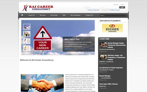Screenshot of Home Page raicareer.com - Best Placement Services,  Jobs in Manufacturing and Service Industries, consultancy in Bhopal, Madhya Pradesh, job placement agency in Bhopal, india, recruitment consultancy in Bhopal, job consultant, placement firm, recruitment agency, naukri, monst - captured Sept. 19, 2014