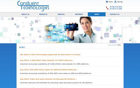 Screenshot of Press Page consilient-tech.com - News - captured Aug. 24, 2017