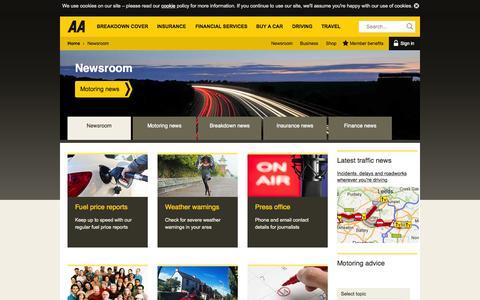 Screenshot of Press Page theaa.com - Newsroom | Motoring, breakdown and insurance news | AA - captured Nov. 18, 2015