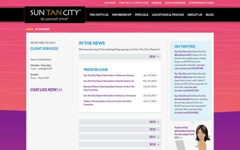 Screenshot of Press Page suntancity.com - Sun Tan City in News Articles and Press Releases - captured Nov. 6, 2015