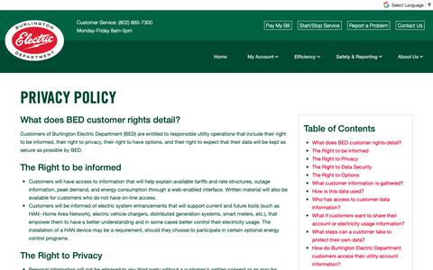 Screenshot of Privacy Page burlingtonelectric.com - Privacy Policy   Burlington Electric Department - captured Oct. 7, 2018