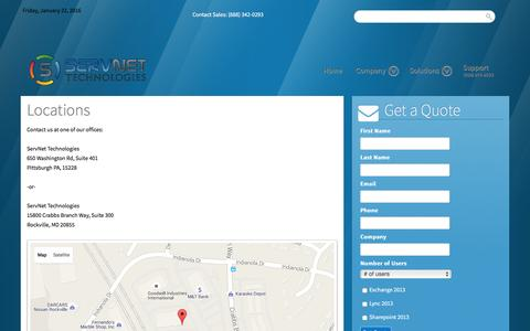 Screenshot of Locations Page servnettech.com - Locations - ServNet Technologies - captured Jan. 22, 2016