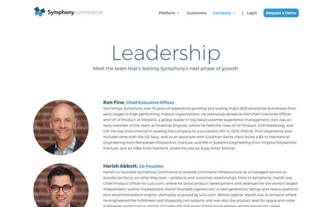 Screenshot of Team Page symphonycommerce.com - Leadership | Symphony Commerce - captured May 10, 2017