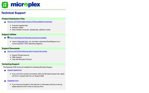 Screenshot of Support Page microplex.com - Microplex Systems Ltd. - Technical Support - captured Oct. 27, 2014