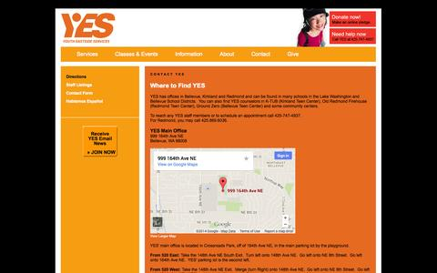 Screenshot of Maps & Directions Page youtheastsideservices.org - Contact Youth Eastside Services - captured Oct. 9, 2014