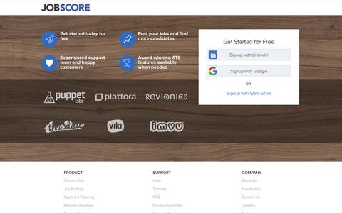 Screenshot of Signup Page jobscore.com - Free ATS Signup | JobScore - captured Dec. 3, 2015