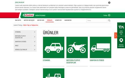 Screenshot of Products Page castrol.com - Motor Yağı | Motor Yağı Özellikleri, Madeni Yağ Özellikleri - captured Jan. 8, 2017