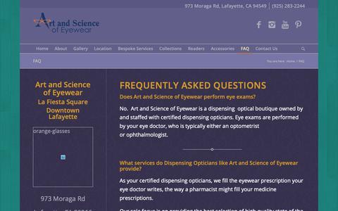Screenshot of FAQ Page artandscienceofeyewear.com - FAQ - Art and Science of Eyewear - Eye Glasses & Accessories - captured Nov. 6, 2018