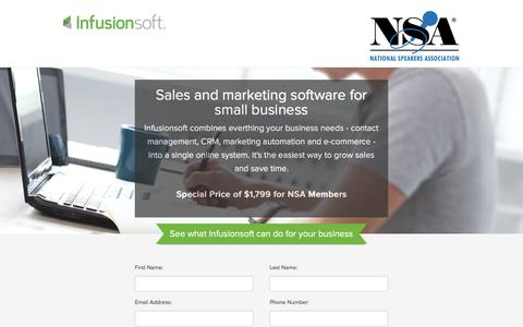 Screenshot of Landing Page infusionsoft.com captured March 23, 2016
