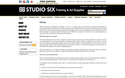 Screenshot of Privacy Page studio-six.com - Privacy - captured Oct. 9, 2014