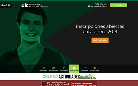Screenshot of Home Page uic.edu.mx - UIC- Universidad Intercontinental - captured Sept. 22, 2018