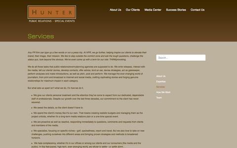 Screenshot of Services Page hunter-pr.com - Services | Hunter PRHunter Public Relations - captured Oct. 3, 2014