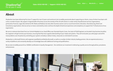 Screenshot of About Page sfax.co.uk - About | Managed IT Support, IT Services - captured Oct. 20, 2017