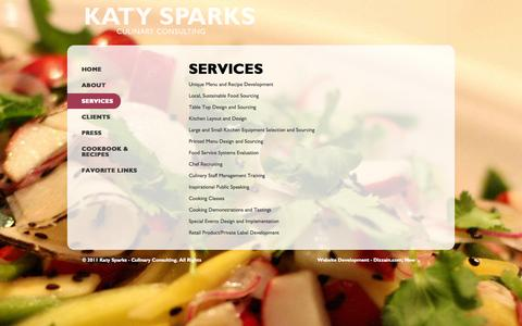 Screenshot of Services Page katysparks.com - Services | Katy Sparks - captured Oct. 6, 2014