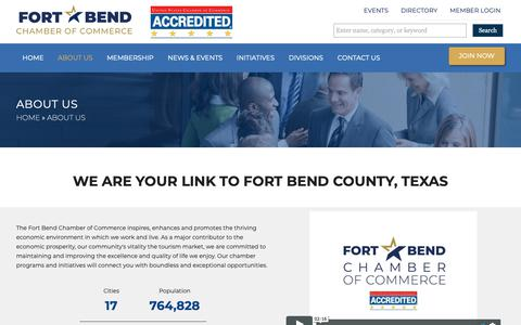 Screenshot of About Page fortbendchamber.com - About Us – Fort Bend Chamber of Commerce - captured Nov. 14, 2018