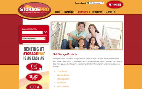 Screenshot of Products Page storagepro.com - Self Storage Products by StoragePro - captured Oct. 7, 2014