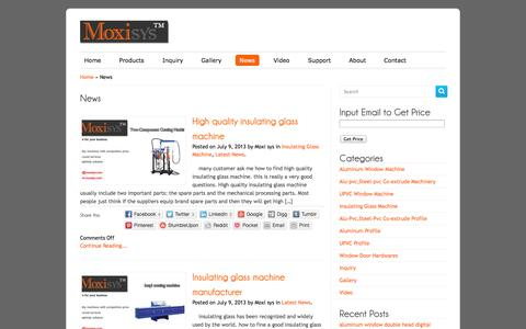 Screenshot of Press Page moxisys.com - News | Moxisys|Upvc Windows Machine|Aluminum Windows Machine|Insulating Glass Machine|Upvc Profiles| Aluminum Profile|Window Door Hardware - captured Oct. 4, 2014