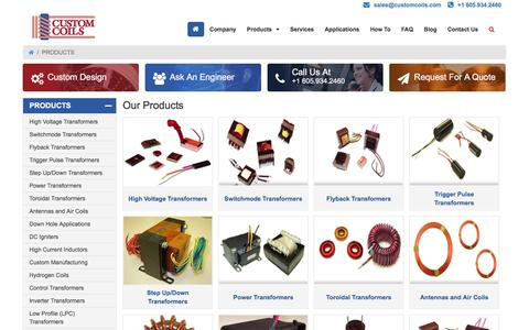 Screenshot of Products Page customcoils.com - Custom Transformer, High Voltage Power Transformer & Inductors Online at Custom Coils - captured July 24, 2018