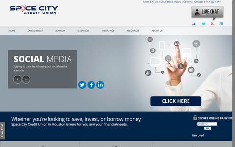 Screenshot of Home Page spacecitycu.com - Space City Credit Union: Houston's Credit Union - captured Oct. 1, 2014