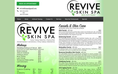 Screenshot of Services Page reviveskinspallc.com - Revive Skin Spa | Home Page - captured Jan. 11, 2016