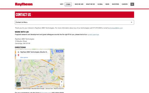 Screenshot of Contact Page raytheon.com - Raytheon: Contact Us - captured July 3, 2016